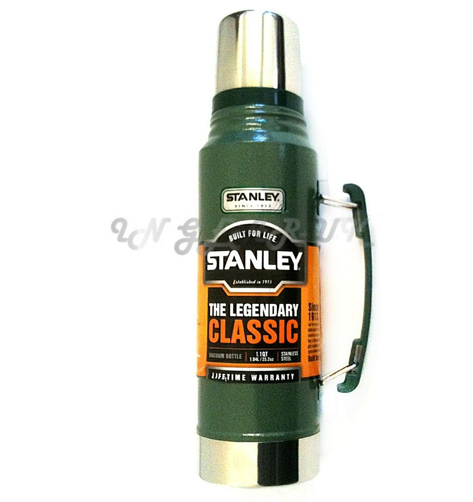 green stanley 1 litre drinks thermos vacuum flask stainless steel classic metal ebay. Black Bedroom Furniture Sets. Home Design Ideas