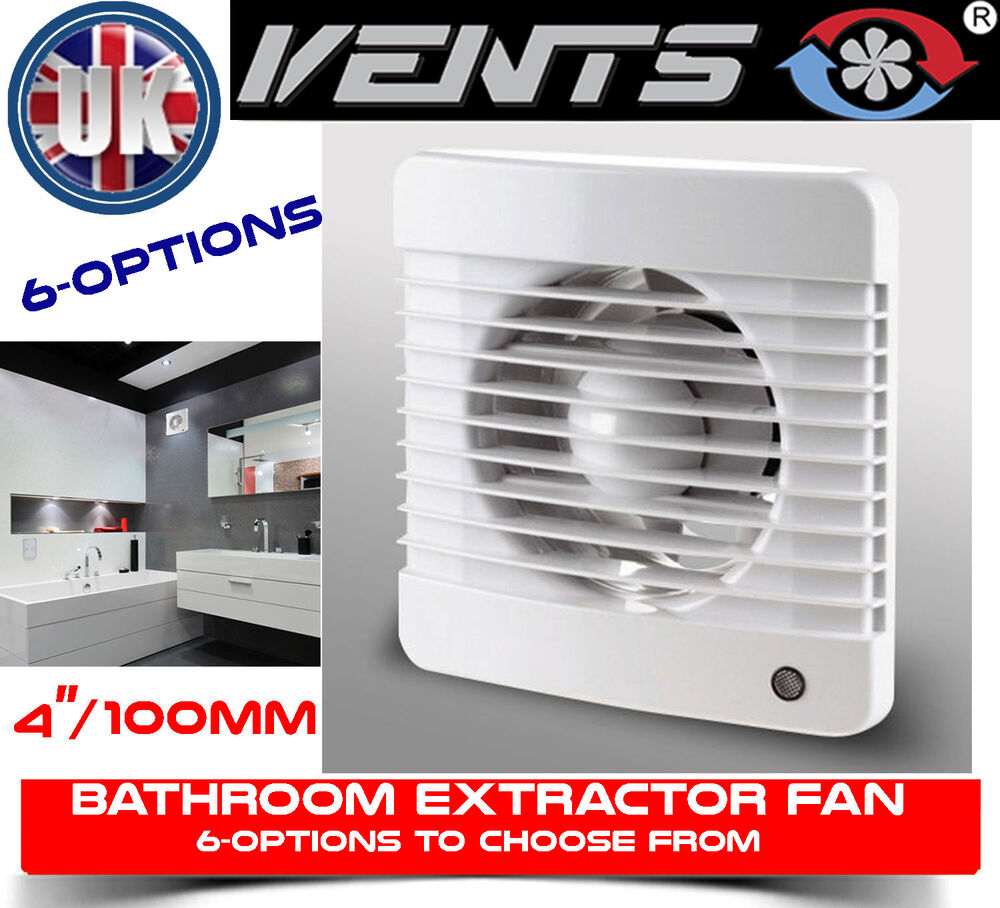 Vents 100mm/4¸ dia Bathroom Extractor Fan SHUTTER TIMER ...