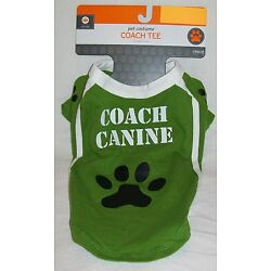 ''Coach Canine'' Green & White with Paw Print Pet Dog Cat Tee Shirt *New