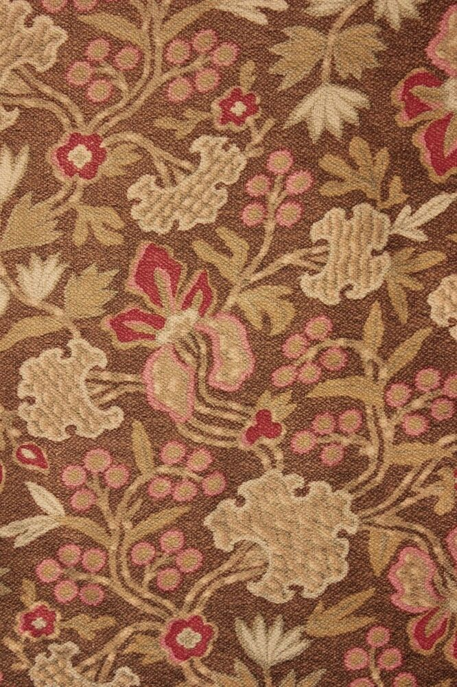 Antique french cretonne 1880 brown arts and crafts fabric for Fabric arts and crafts ideas
