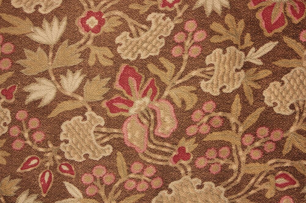 antique french cretonne 1880 brown arts and crafts fabric