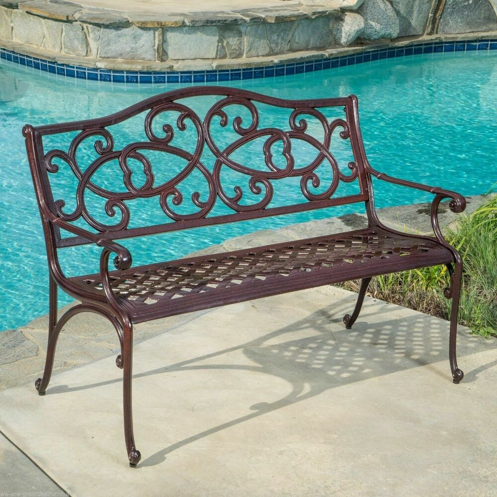 Outdoor patio furniture elegant cast aluminum brown copper garden bench ebay Aluminum benches