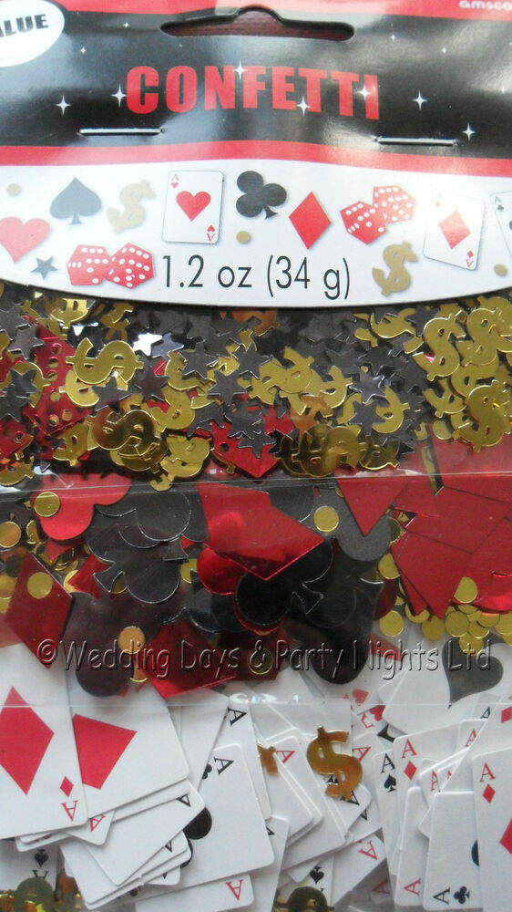 Casino table confetti playing card dollar dice birthday for Decoration poker