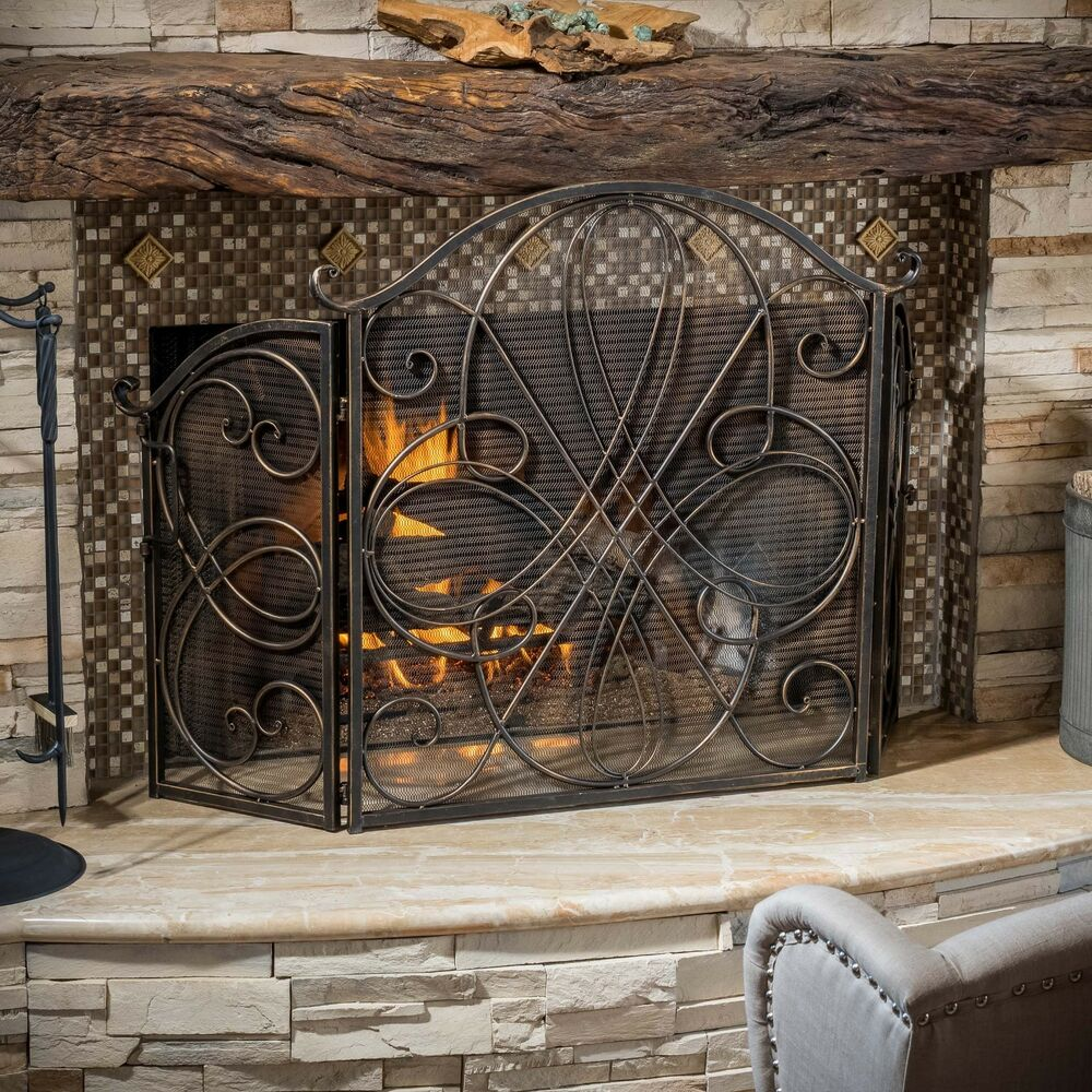 Indoor Accessories Black Brushed Gold Finish Wrought Iron Fireplace Screen Ebay
