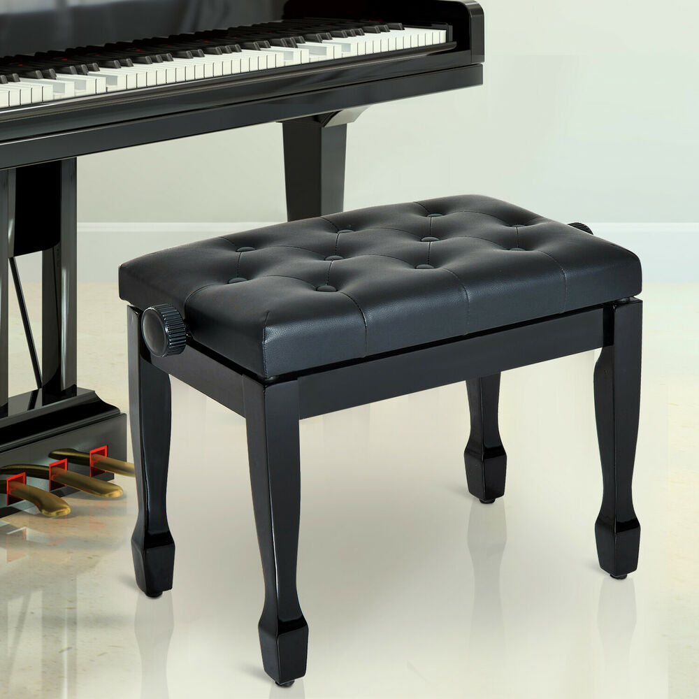 Homcom Faux Leather Piano Stool Height Adjustable Seat