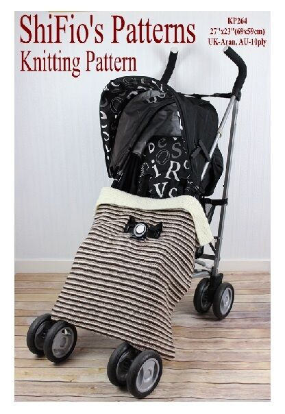 KNITTING PATTERN for BABY BUGGY BLANKET STROLLER AFGHAN # 264 ShiFios Pa...