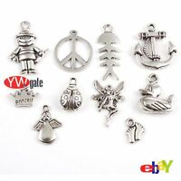 Lots 50Pcs Assorted Silver Plated Charms Pendant Jewelry DIY Craft Making