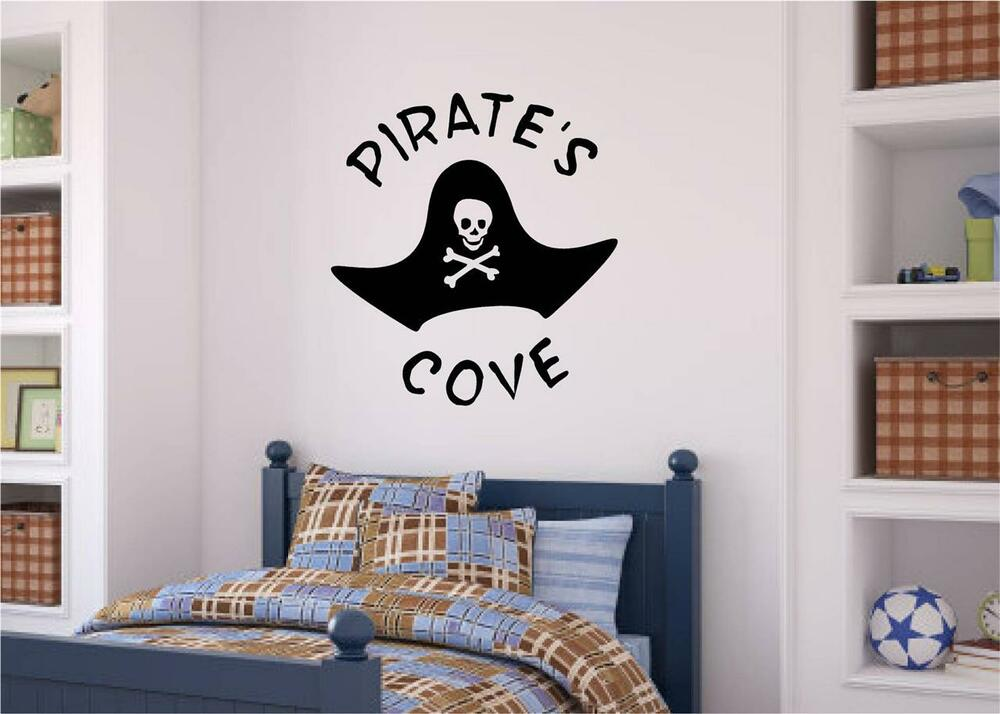 pirate 39 s cove vinyl decal wall stickers words letters boy teen room decor ebay. Black Bedroom Furniture Sets. Home Design Ideas
