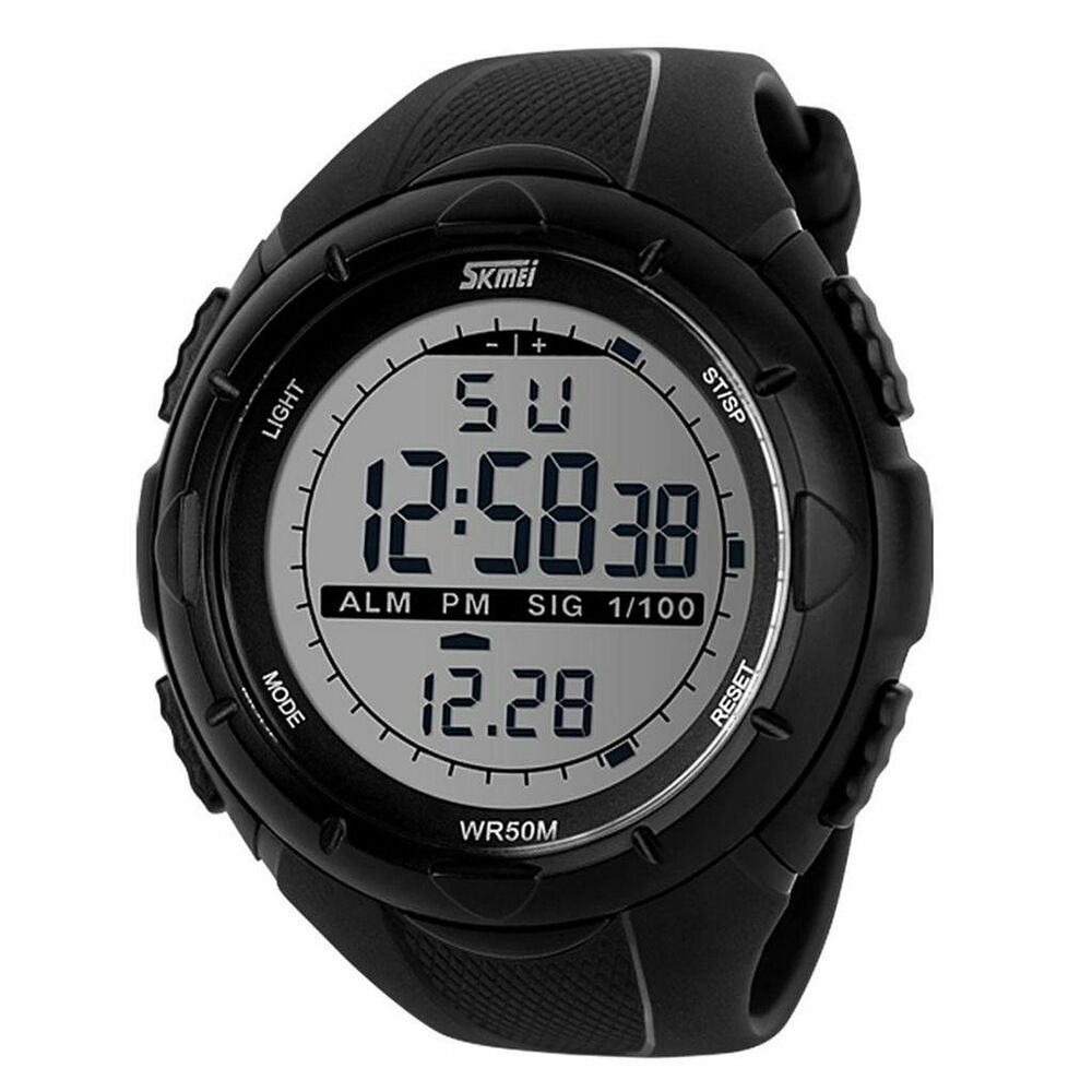 Men military digital lcd waterproof multifunction sports wrist watch black ebay for Watches digital