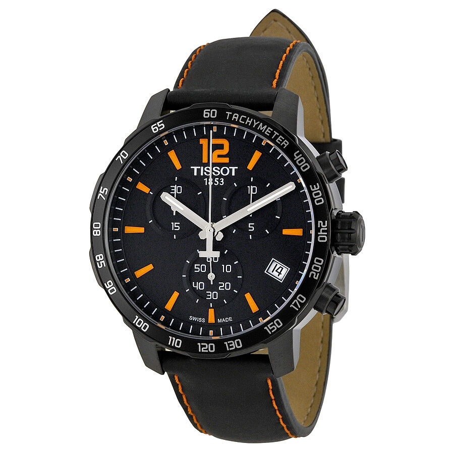 Tissot quickster chronograph black dial black leather mens watch t0954173605700 ebay for Watches on ebay