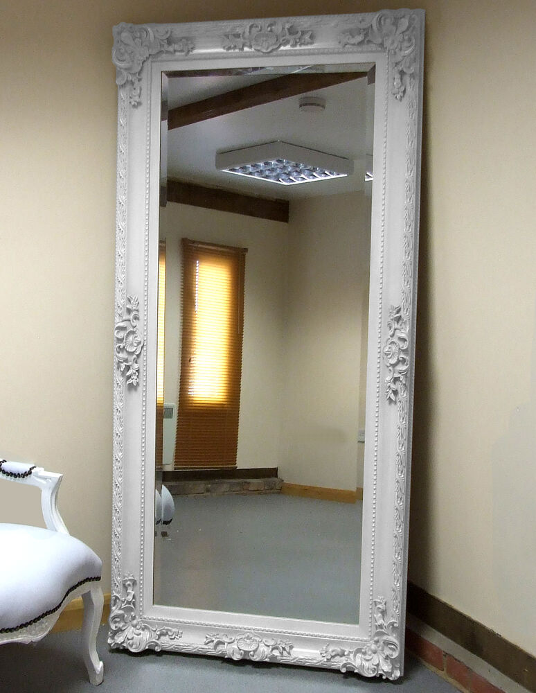 Paris white shabby chic antique full length leaner floor for Large white mirror