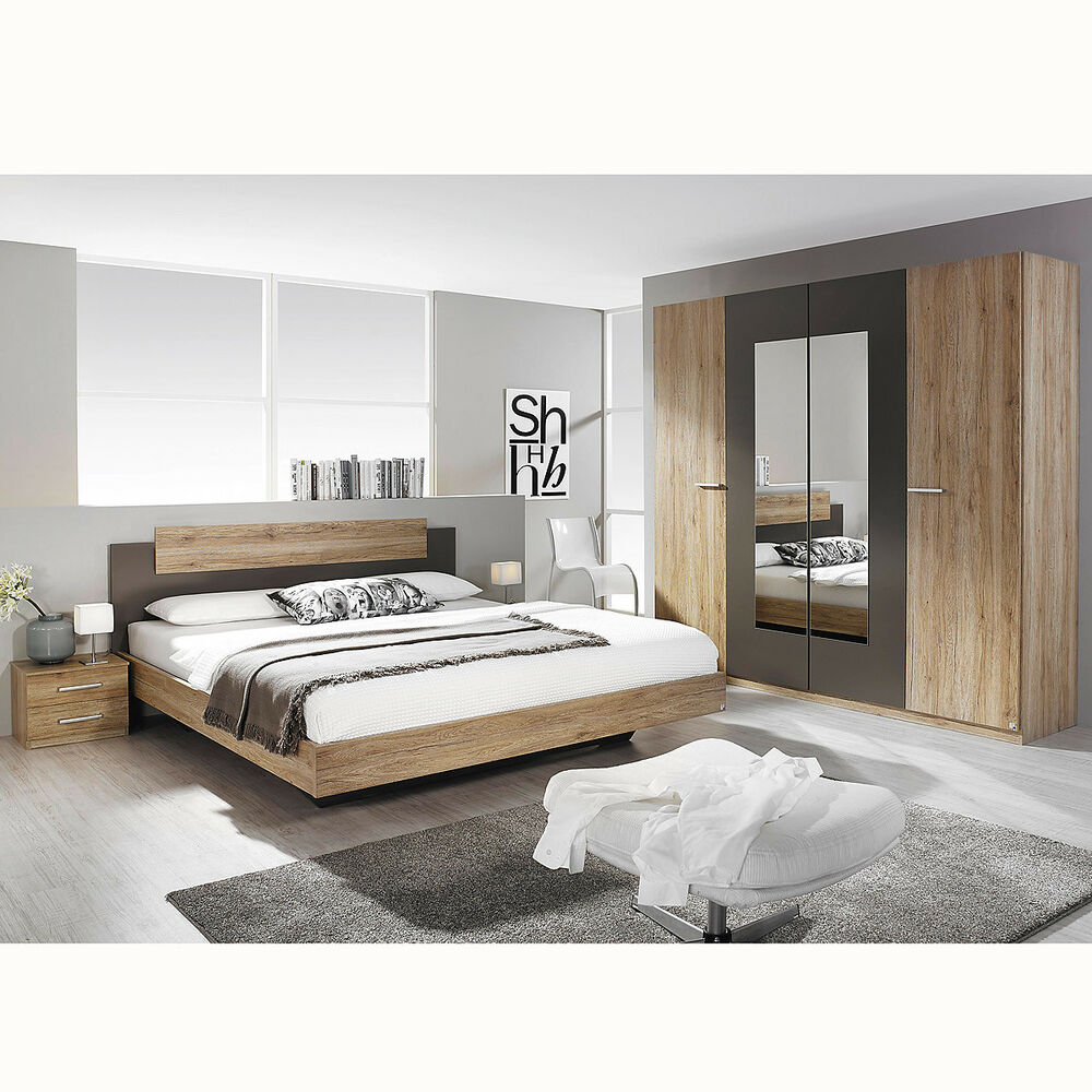 schlafzimmer set borba bett nakos kleiderschrank eiche. Black Bedroom Furniture Sets. Home Design Ideas