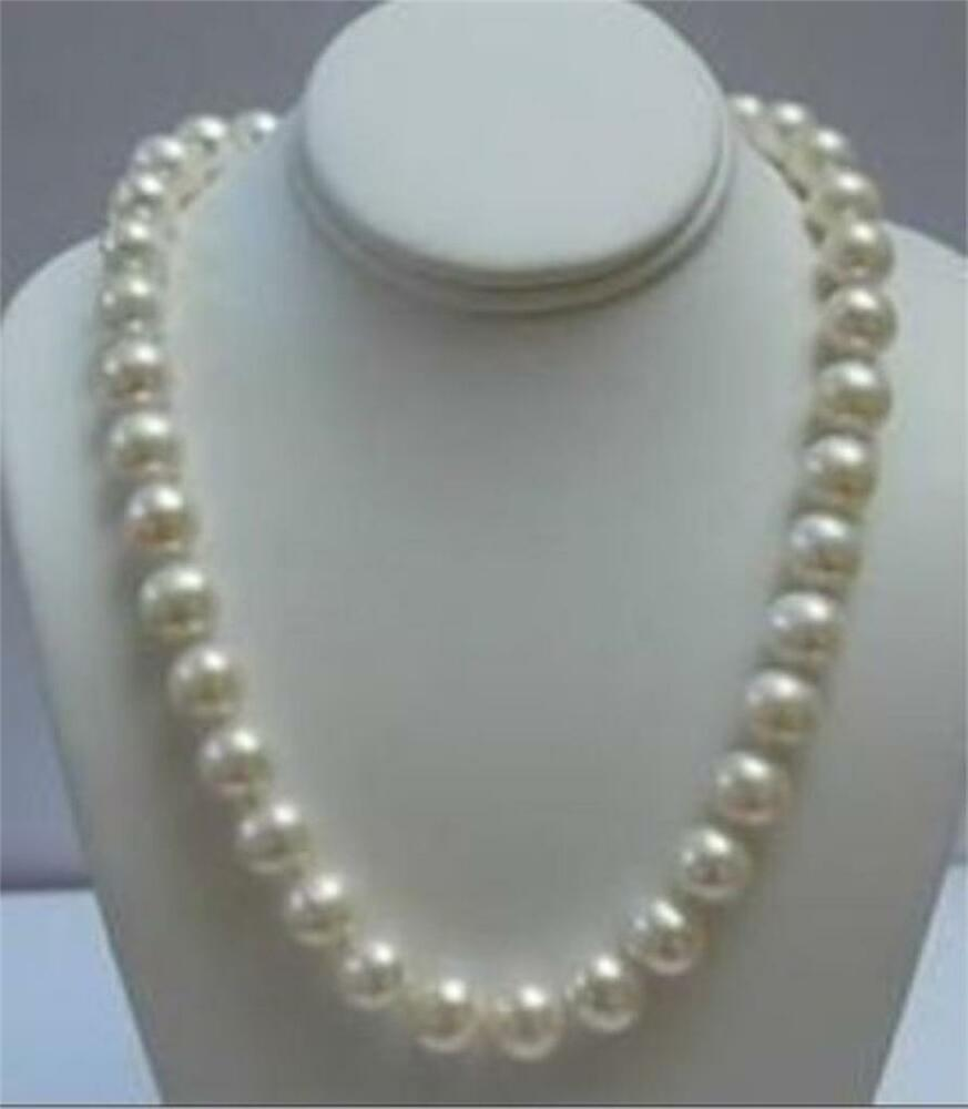 """Pearl Necklace Clasp: Beautiful! 9-10MM White Akoya Pearl Necklace 18"""" 14K Solid"""