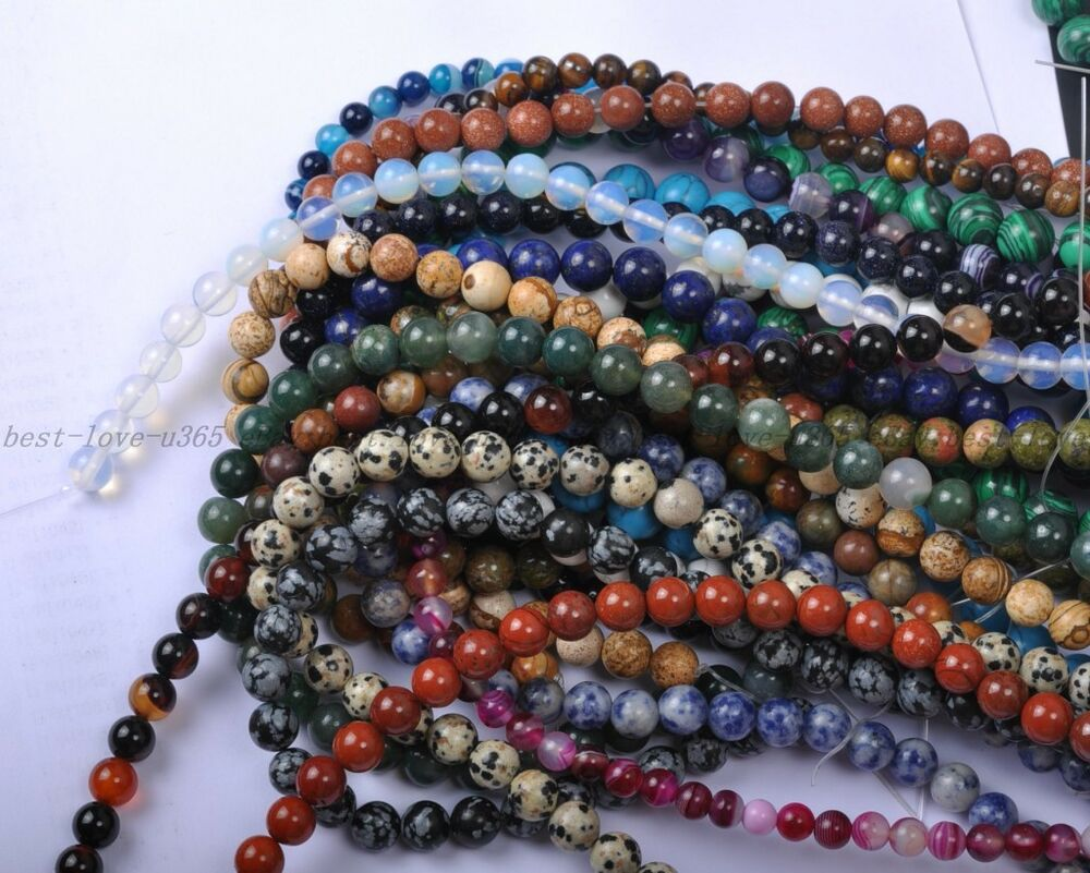 Natural Stone Beads : Wholesale natural gemstone round charms loose spacer beads