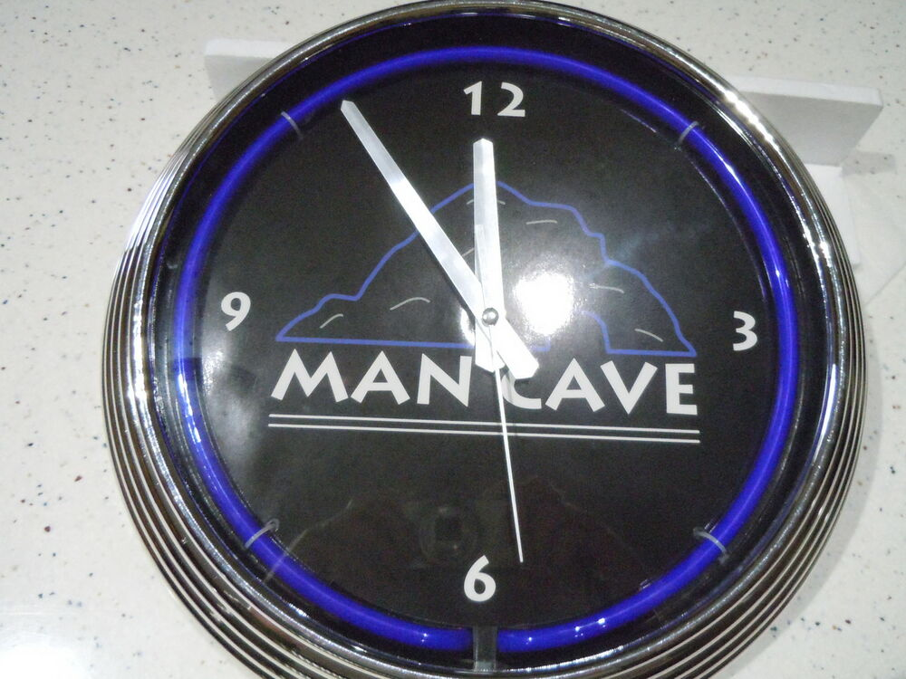 Man Cave Neon Clock : Neon man cave wall clock new in box ebay