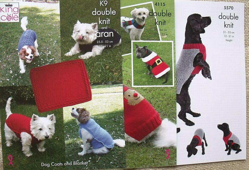 Knitting Patterns Christmas Dog Coats : KING COLE PATTERNS 4115 & K9. DOG COATS FOR COLD DAYS ...