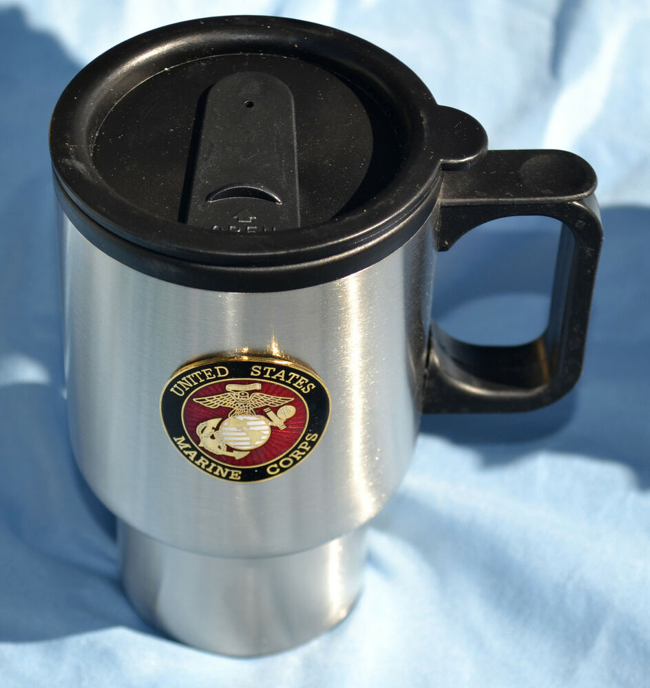 marine corps stainless steel travel coffee mug cup with lid usmc ebay. Black Bedroom Furniture Sets. Home Design Ideas