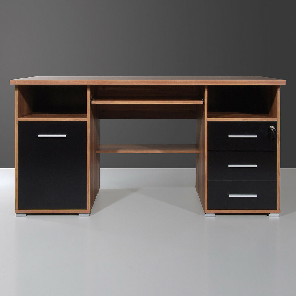 schreibtisch 0484 b rotisch computertisch schwarz walnuss abschlie bar germania ebay. Black Bedroom Furniture Sets. Home Design Ideas