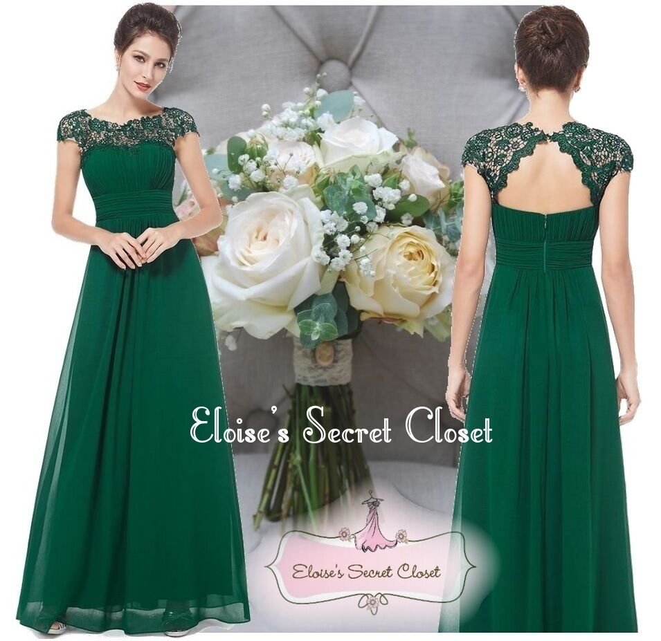 KATIE Emerald Green Lace Bridesmaid Evening Ballgown Dress