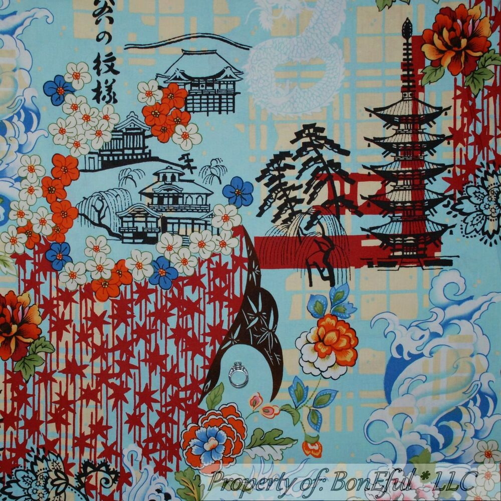 Damask fabric ebay - Boneful Fabric Fq Cotton Quilt Blue Flower Tree Asian Koto
