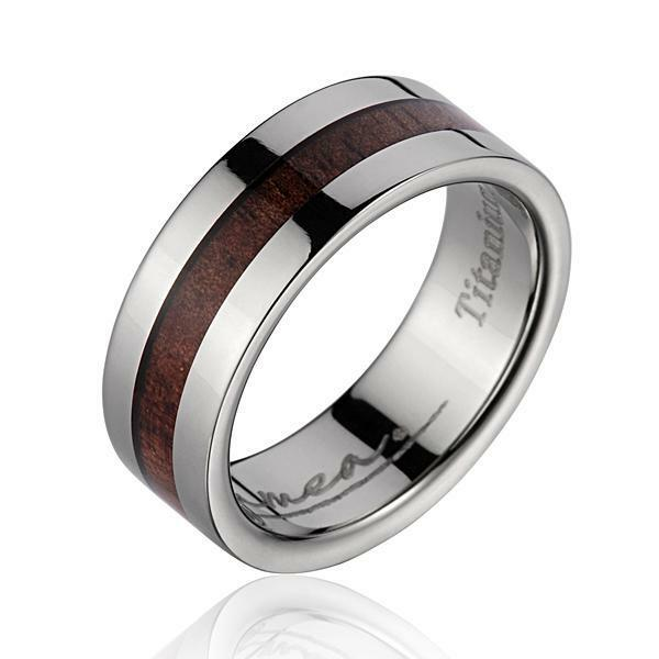 Genuine Inlay Hawaiian Koa Wood Wedding Band Ring Titanium 8mm Size 5 ...