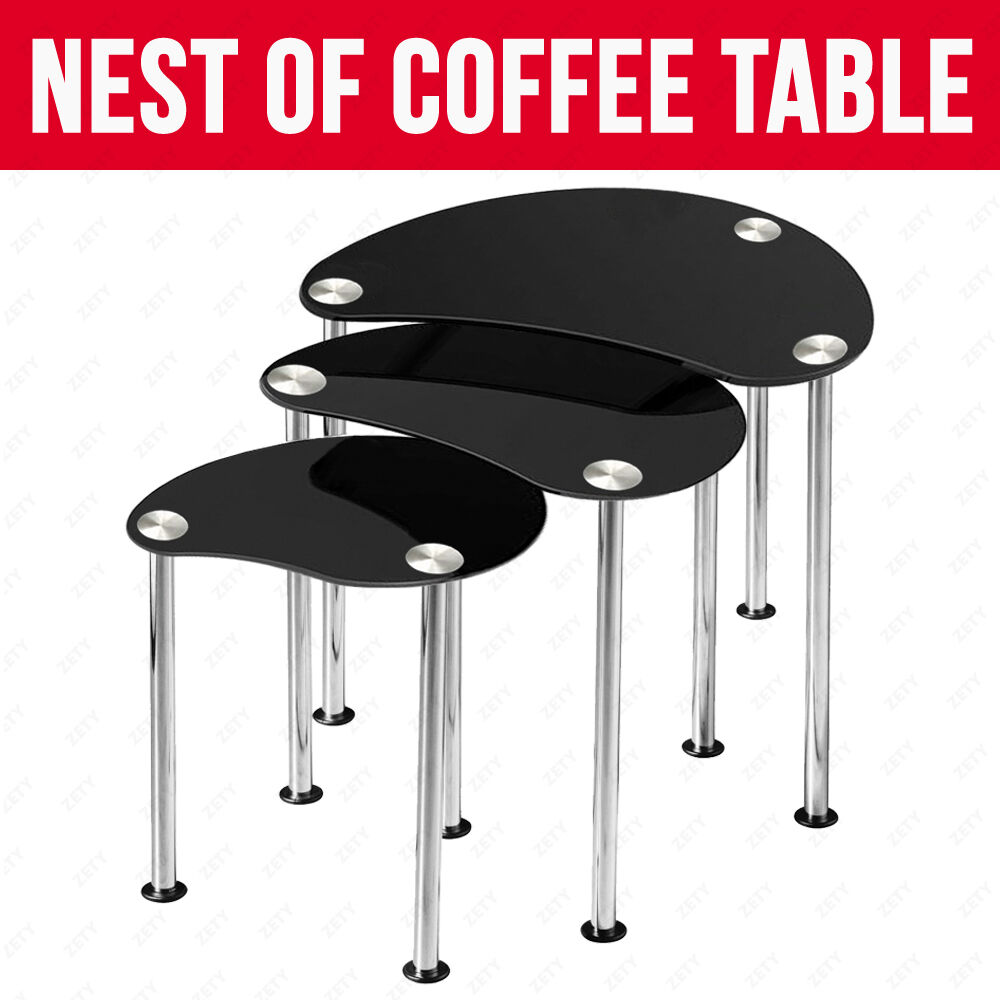 New Black Glass Oval Nest Of 3 Coffee Tables Side End Table With Chrome Legs Ebay