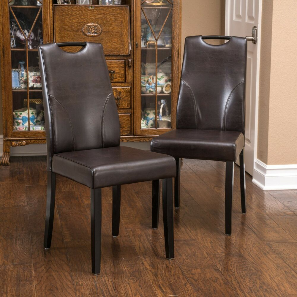 Set Of 2 Dining Room Brown Leather Dining Chairs W Handle