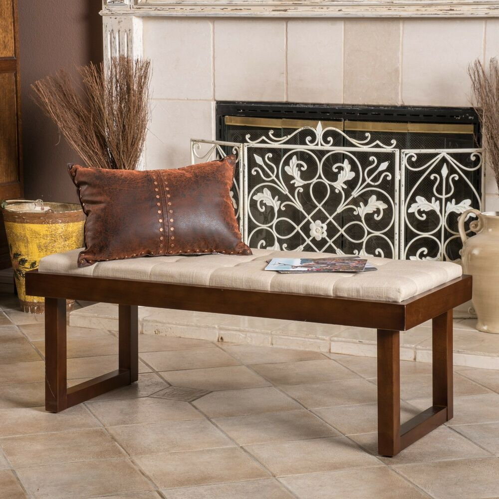 Living Room Furniture Tufted Dark Beige Linen Fabric Ottoman Bench EBay