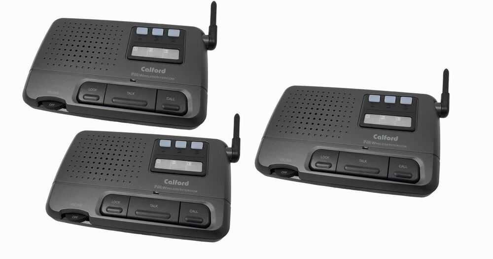 calford 3 channel fm wireless home intercom system 3 room charcoal ebay. Black Bedroom Furniture Sets. Home Design Ideas