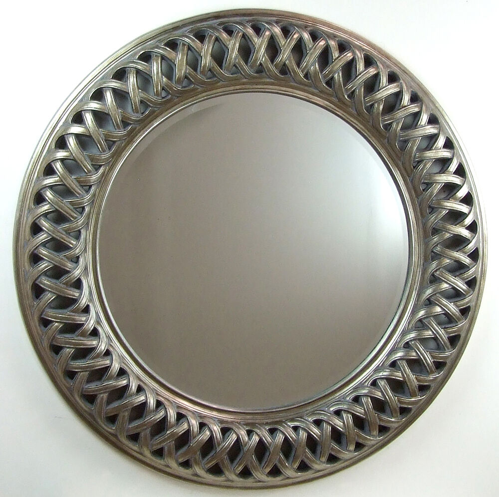 venice very large round wall mirror champagne silver frame art deco 112cm 44 ebay. Black Bedroom Furniture Sets. Home Design Ideas