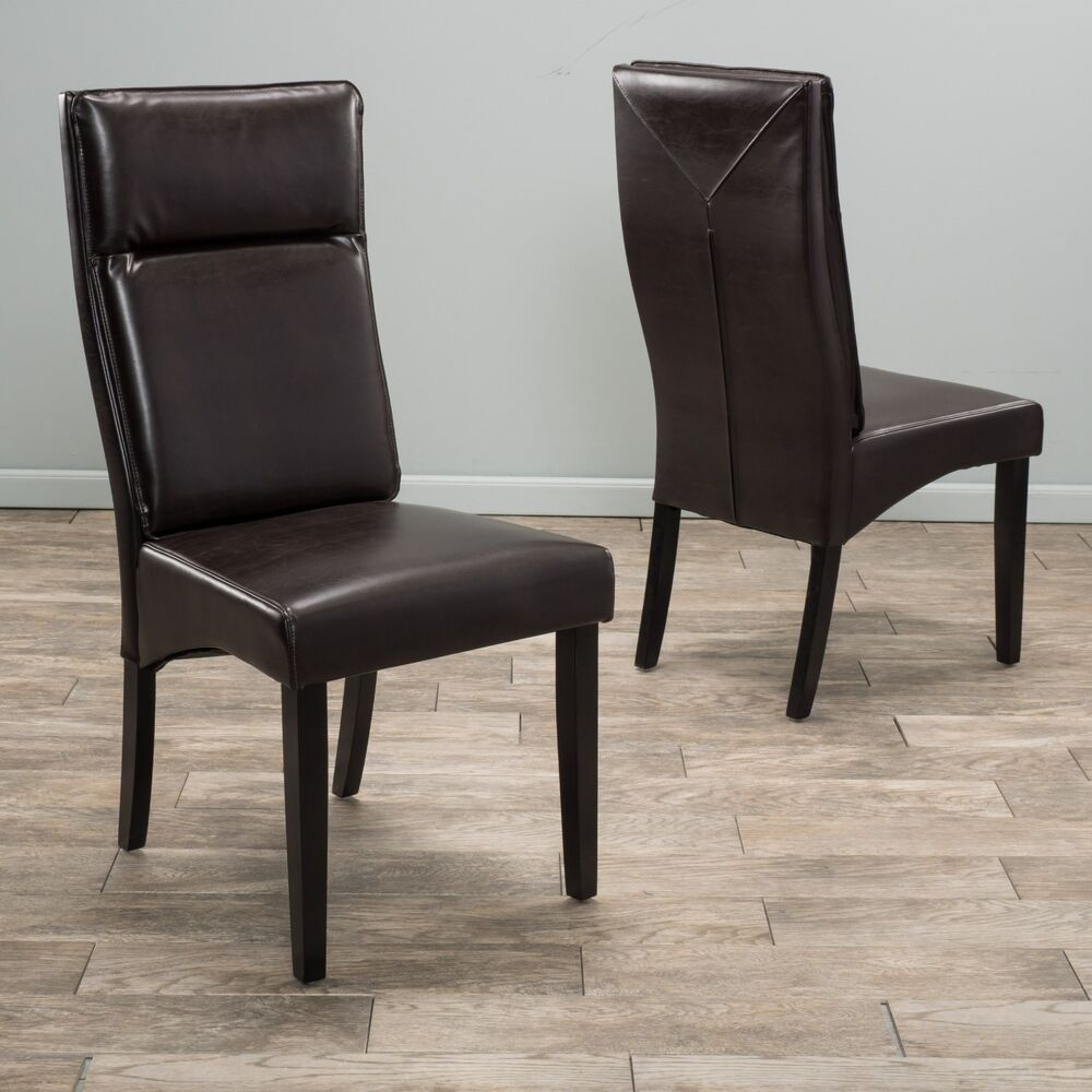 Set of 2 dining room furniture brown leather padded dining for Brown leather dining room chairs