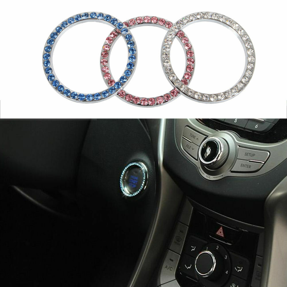 car pink crystal ignition key ring auto push to start decorated rhinestone rings ebay. Black Bedroom Furniture Sets. Home Design Ideas