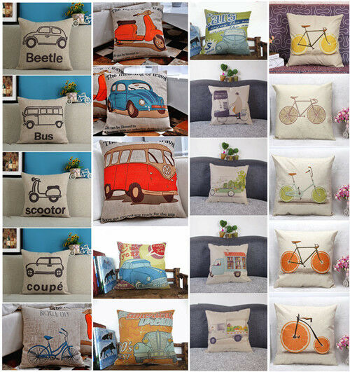 Gracious Home Decorative Pillows : New Retro Car linen Throw Home Pillow Cover Decorative Cushion Cases 45*45 eBay
