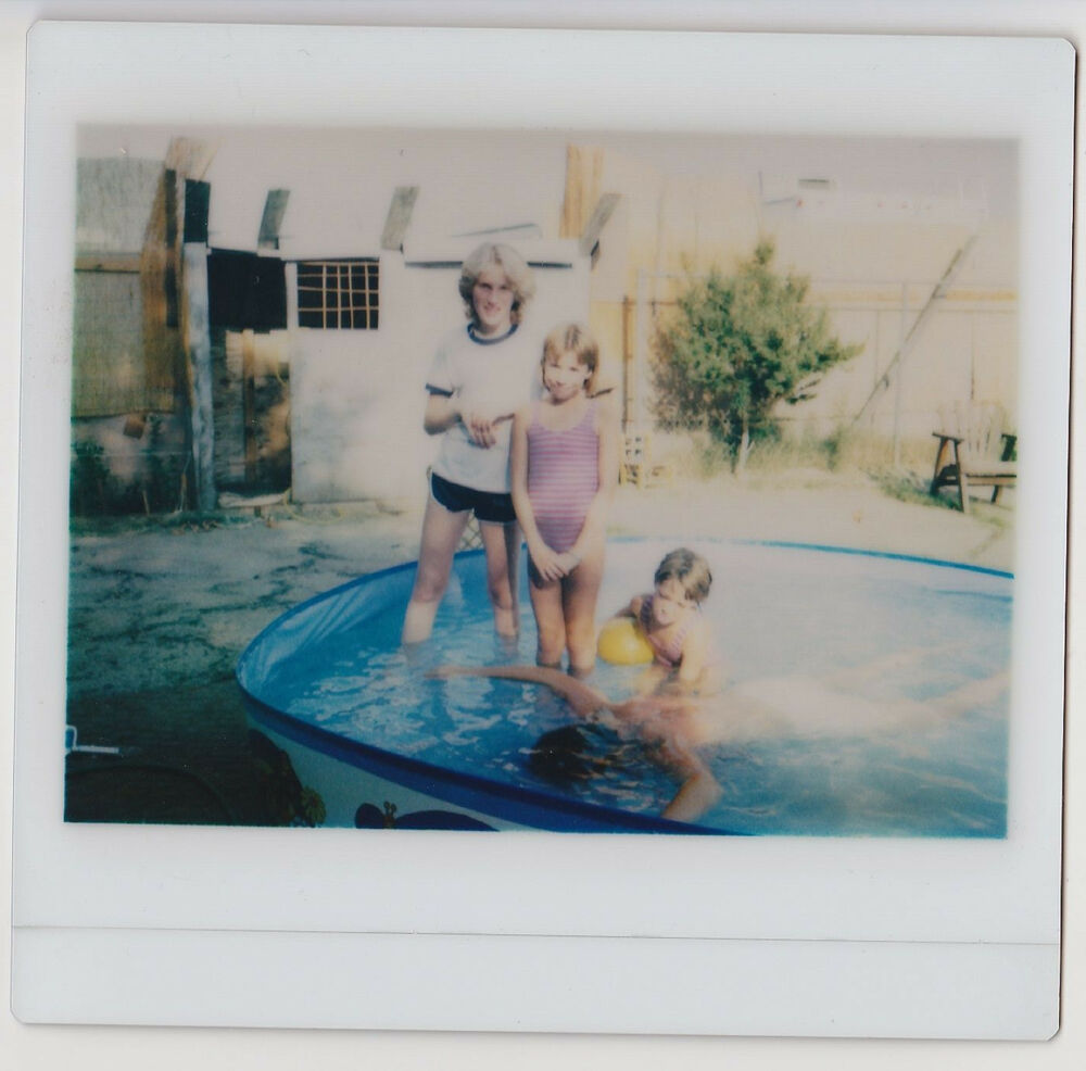 Vintage 80s kodak instant film photo family in stand up for Stand up pool