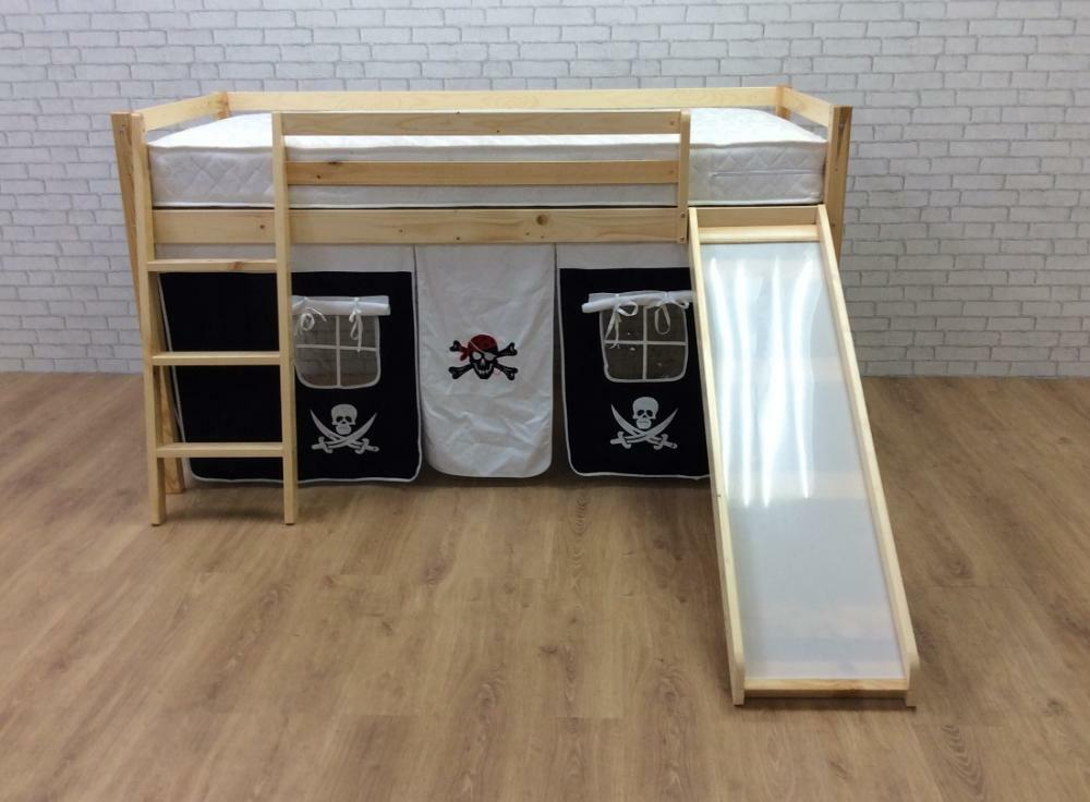 Cabin Bed 3ft Mid Sleeper Pine With Slide And Pirate Tent