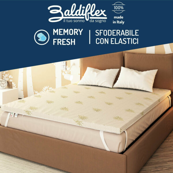 TOPPER CORRETTORE MATERASSO FLEX VISCO MEMORY FRESH SFODERABILE ANTIACARO ALOE