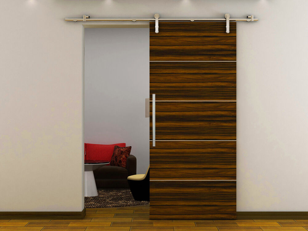 6 6 ft european modern stainless steel wood sliding door for Modern sliding doors