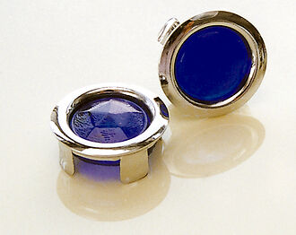 Glass Blue Dots W Chrome Ring Tail Light Classic Antique