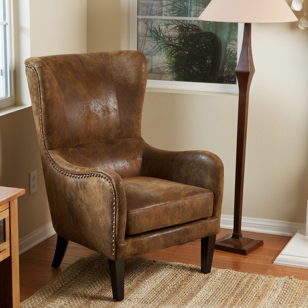 Wingback Design Brown Aged Microfiber Armchair W Nailhead