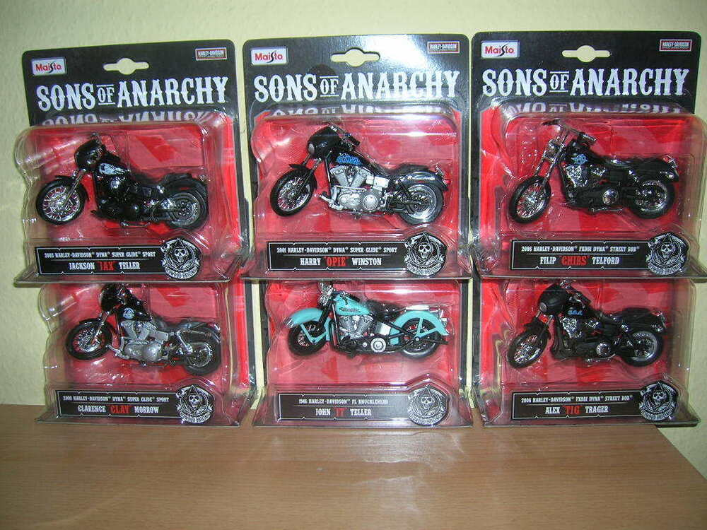 maisto harley davidson sons of anarchy jax opie clay chibs. Black Bedroom Furniture Sets. Home Design Ideas