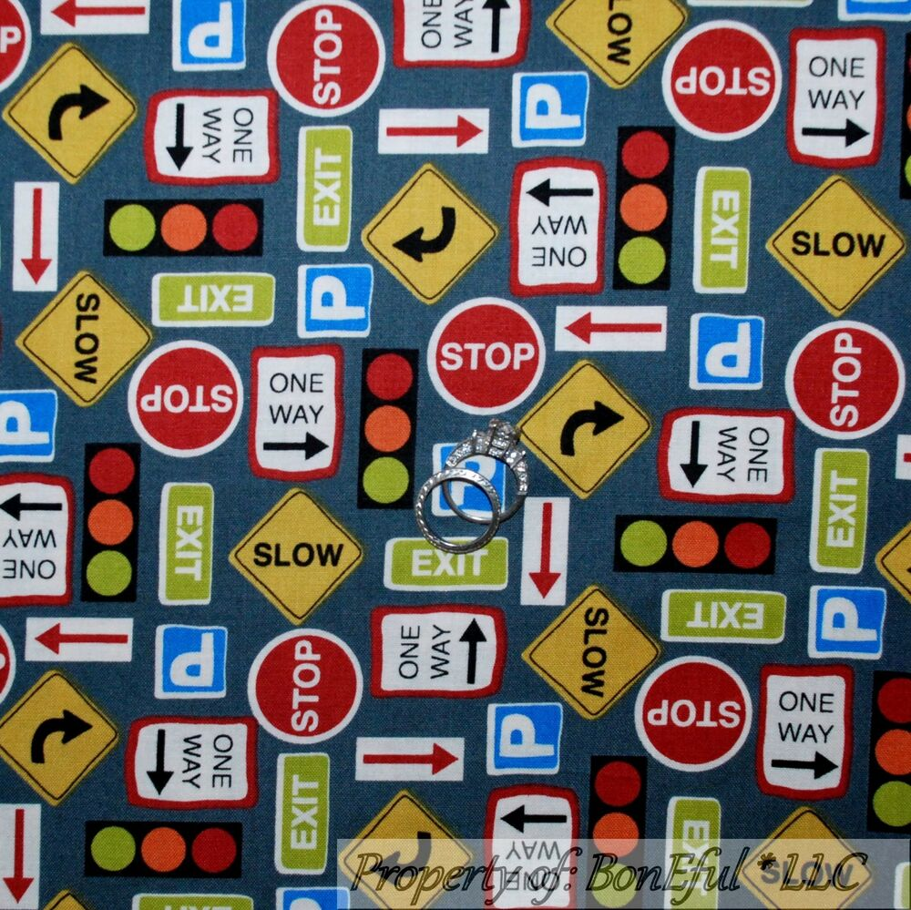 Boneful Fabric Fq Cotton Quilt Gray Blue Red B Amp W Road Sign