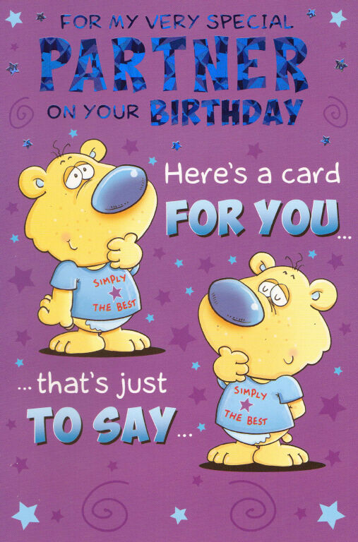 With Love To For My Partner Male Cute Traditional Happy Birthday Card