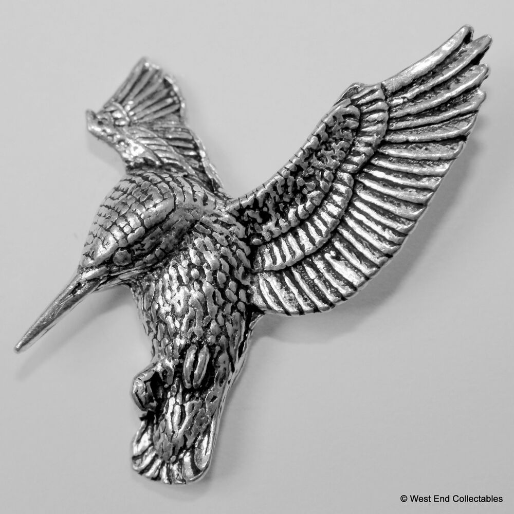 HOVERING KINGFISHER BIRD Hand Made in UK Pewter Lapel Pin Badge