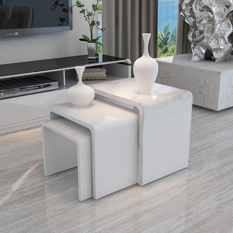 Modern Design White High Gloss Nest Of 3 Coffee Table Side Table Living Room Ebay
