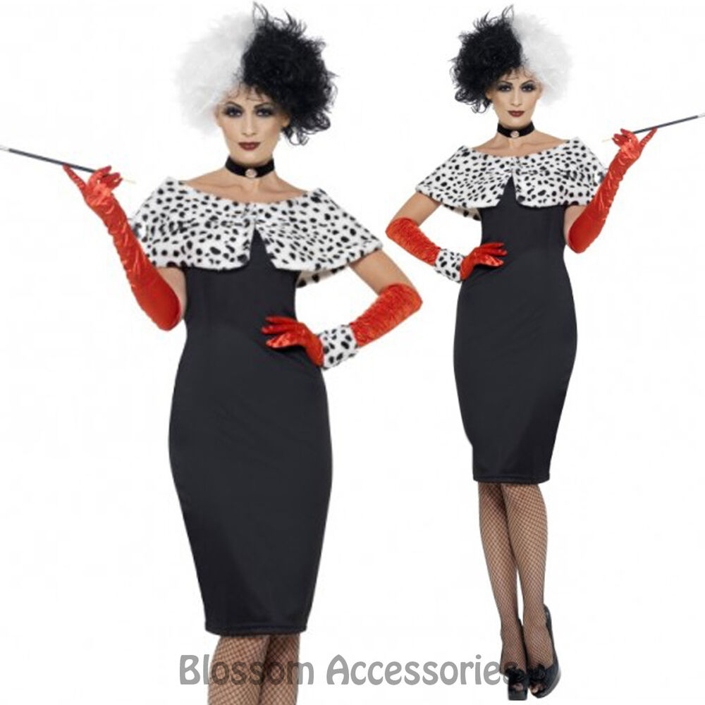 cl225 womens evil madame cruella de vil 101 dalmations fancy dress costume ebay. Black Bedroom Furniture Sets. Home Design Ideas