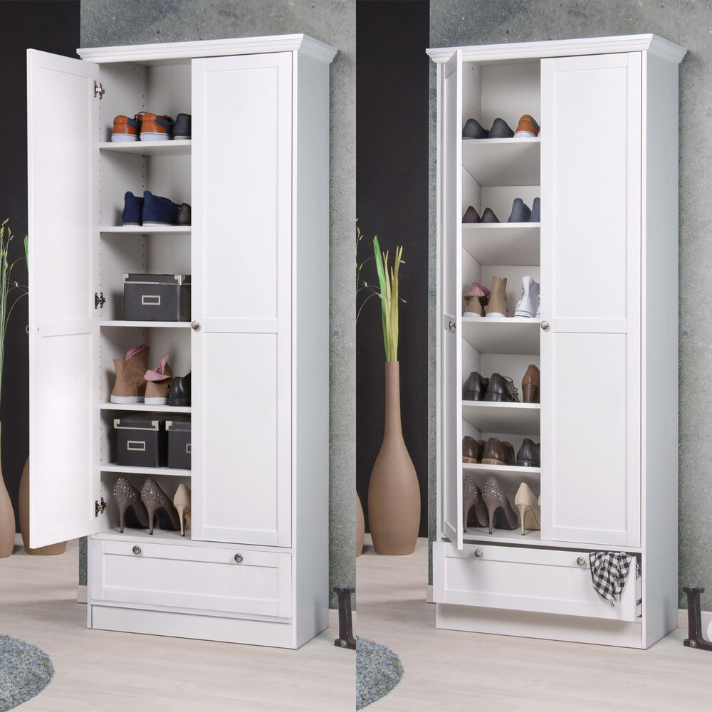 mehrzweckschrank landwood schuhschrank schrank in wei mit 2 t ren landhausstil 4260281756942 ebay. Black Bedroom Furniture Sets. Home Design Ideas
