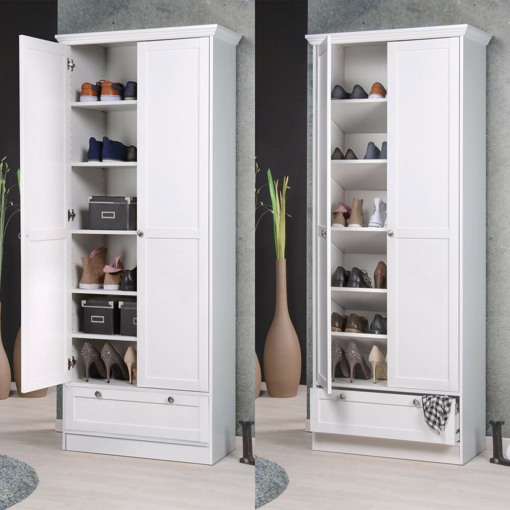 mehrzweckschrank landwood schuhschrank schrank in wei mit 2 t ren landhausstil ebay. Black Bedroom Furniture Sets. Home Design Ideas