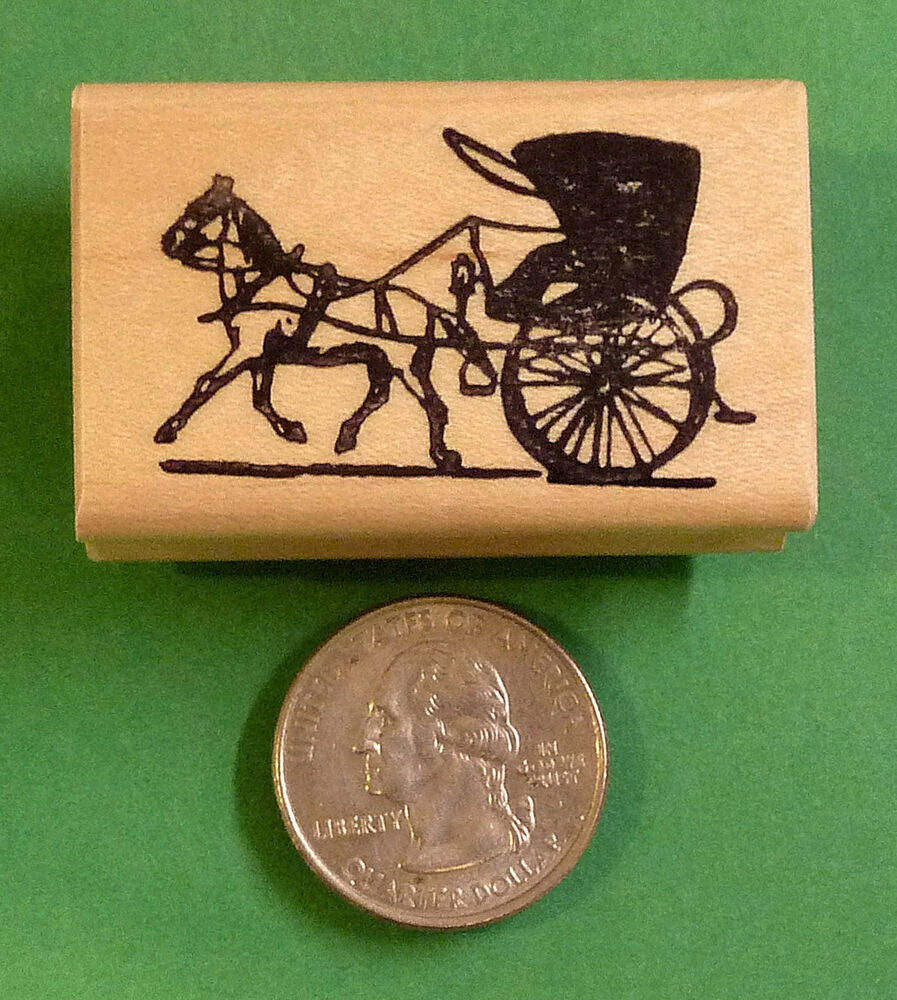 Horse and buggy wood mounted rubber stamp ebay for Custom craft rubber stamps
