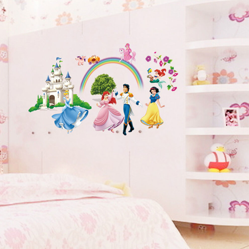 Disney Princess Castle Wall Paper Stickers Kids Nurserydecal Room Home Decor Diy Ebay