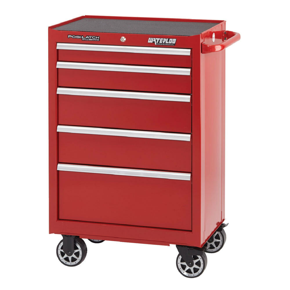 waterloo pca 265rd professional series 5 drawer solidtrax tool cabinet red ebay. Black Bedroom Furniture Sets. Home Design Ideas